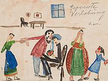 Oskar Laske, Amusing Caricature 'Gepresste Verlobung', 1920s