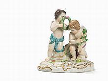 Meissen, Allecorical Cupid Group, Porcelain, c. 1900