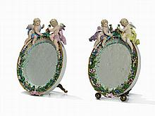 Meissen, Pair of Mirrors with Cupids, 2nd H. 19th C.