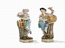 Meissen, A Winemaker & His Wife with Wine Casks, 19th C.