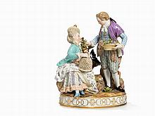 Meissen, Gallant Group of Figures with Birdcage, 2nd H. 19th C.