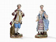 Meissen, A Pair of Gallant Figures, Lady and Cavalier, 1860