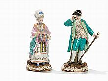 Meissen, 'Lady with Muff' & 'Cavalier with Telescope', 19th C.