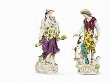 Meissen, 2 Figures 'Shepherd' and 'Shepherdess with Lamb'
