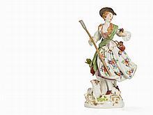 Meissen,Porcelain Figure,Shepherdess with Lamb & Bar, 1961
