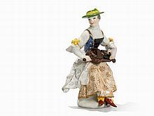 Meissen, Figurine 'Columbine mit Drehleier', 2nd H. 18th C.