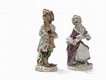 Meissen, 2 Figures From The 'Monkey Orchestra', 18th/19th C.