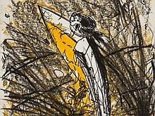 Christian Ludwig Attersee, Colour Etching 'Vogelrast', 1986