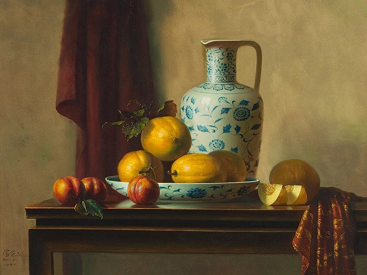 Cai BaoYu, Still Life 'Honeydew and Porcelain', 1997
