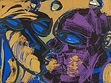 Rainer Fetting (b. 1949), Colour Silkscreen 'The Kiss', 1990
