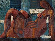 Viktor Rafael Gyözö, Large Painting 'Reclining Woman', c. 1960