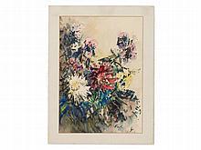 Edith Naske, Watercolour 'Bouquet of Flowers', Austria, 1956