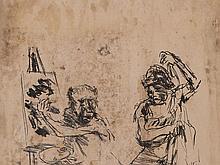 Oskar Kokoschka, Lithographic Stone 'The Action Painter', 1959