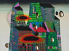 Friedensreich Hundertwasser, 'Bleeding Town' Series FF, 1969/71