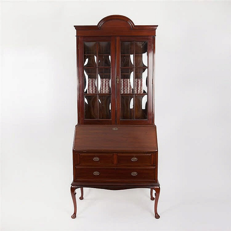 English bureau bookcase from massive mahogany around 1910 for Bureau in english