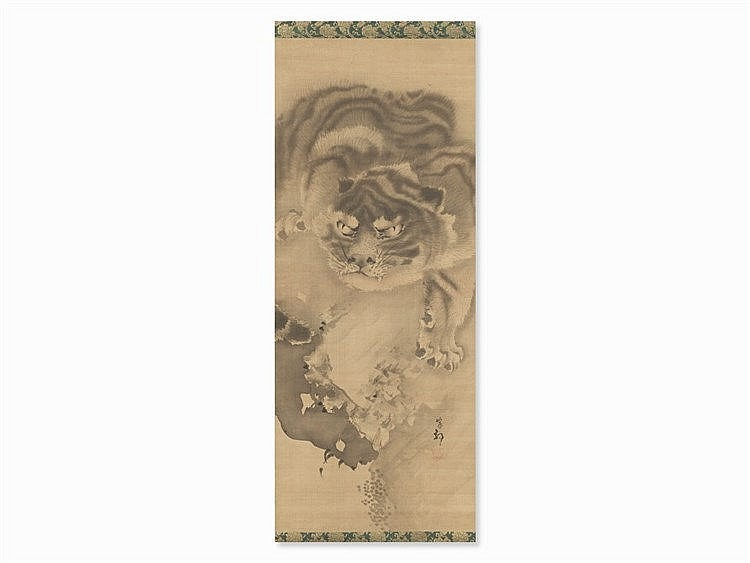 Attr. to Kishi Ganku, Painting Scroll of a Tiger, Japan, 18th C