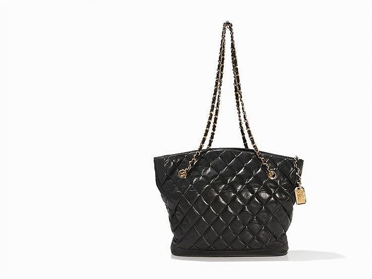 Chanel, Black Quilted Lambskin Shoulder Bag, c. 1990