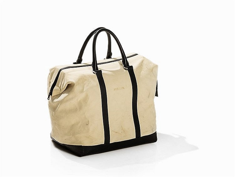 Premiata, Cream and Black Leather Weekender, Italy, 21st C.