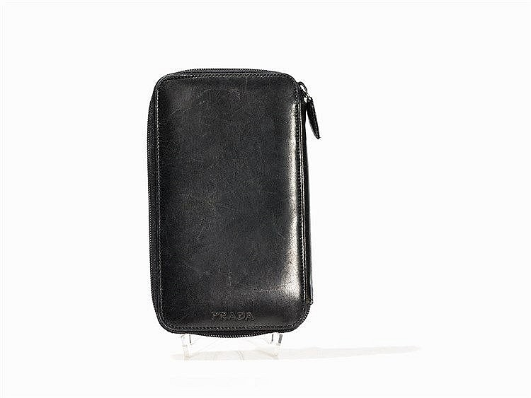 Prada, Large Black Leather Money Purse, Italy, c. 1990