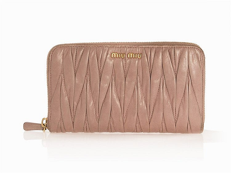 Miu Miu, Wallet, Rose-coloured Matelassé Leather, c. 2005