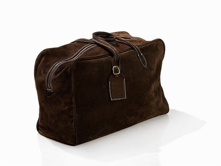 Tom Reimer, Dark Brown Suede Leather Weekender, 21st C.