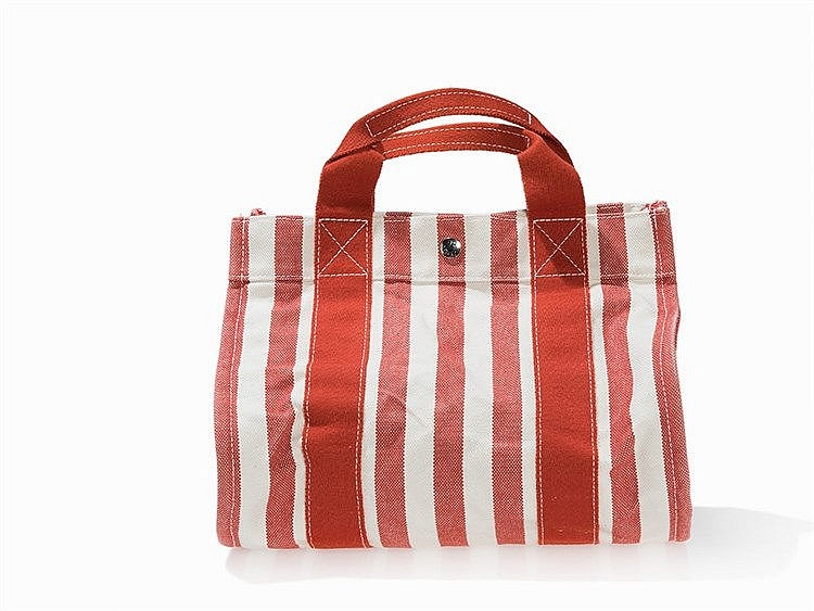 Hermès Bag, Cannes PM, Red Beige Striped, Fabric, c. 2014