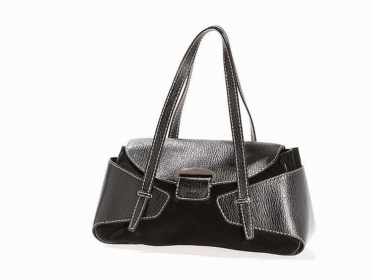 Tods, Suede Shoulder Bag of Black Leather, 1990s