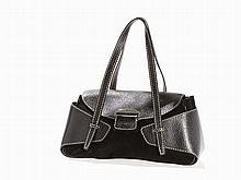 Tods, Suede Shoulder Bag of Black Leather, 1990s
