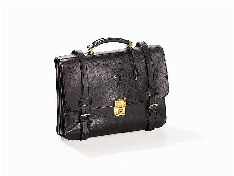 Felisi, Leather Flap Front Briefcase, Black, Italy, 1980s