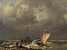 Hermanus Koekkoek I 'Fishing Boats in Stormy Water', 1859