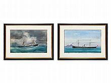 Antonio De Simone Workshop, Two Captain's Paintings, c. 1890