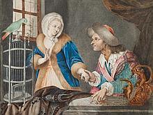 Nina Prugglach, Watercolor & Gouache, 'Carousing Couple', 1805