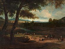 Dutch Italianate School, 'Landscape with Travelers', 17th C