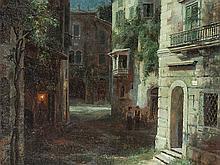Ivan Veltz (1866-1926), Street Scene by Moonlight, 1908