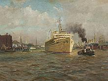 Hans Bohrdt, Wilhelm Gustloff in the Port of Hamburg, Oil, 1939