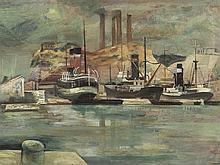 Harbor View in Marseille, Oil Painting, Pres. 1920s