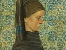 Wilhelm Petersen, Girl With Frisian Costume, Oil, 1967