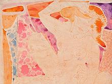 Edvard Frank (1909-1972), Watercolor, Erotic Scene, 1956