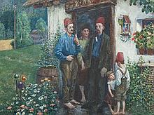 Hans Baluschek, Watercolor, Mussulmen in Berlin, 1908