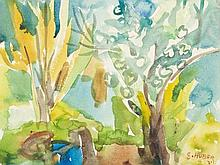 Ernst Huber (1895-1960), Watercolor, View of a Park, 1930