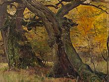 Eugen Bracht, Oil Painting, Oak Trees in a Park, 1901