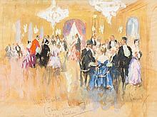 Edward Cucuel (1875-1954), Gouache 'Monte Carlo (Saal Schmidt)'