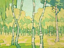 Minna Kohler-Roeber, Oil Painting, Birch Trees, around 1915