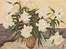 Emil Bizer (1881-1957), Oil Painting, Still Life with Peonies