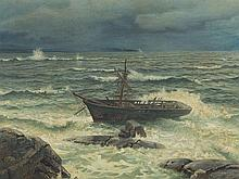 Hans Fredrik Gude, Shipwreck at the Coast, Oil, 1899