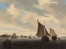 Sailing Ships near Dutch Coast, Oil Painting, 19th Century