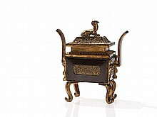 Partly Gilt Censer in Bronze, China, Qing Dynasty