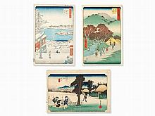 Utagawa Hiroshige, Set of 3 Woodblock Prints, Japan, 1830s-50s