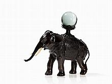Bronze Figure of an Elephant with Crystal Ball, Japan, Meiji