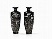 Pair of Cloisonné Copper Vases with Chrysanthemum, Meiji